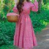 فستان ميلا ططري احمر كاروهات