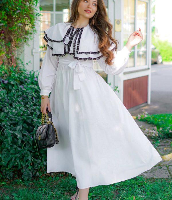 فستان ميلا ططري ابيض